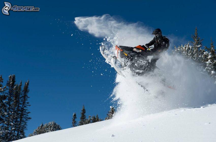 śnieżny skuter, śnieg, skok