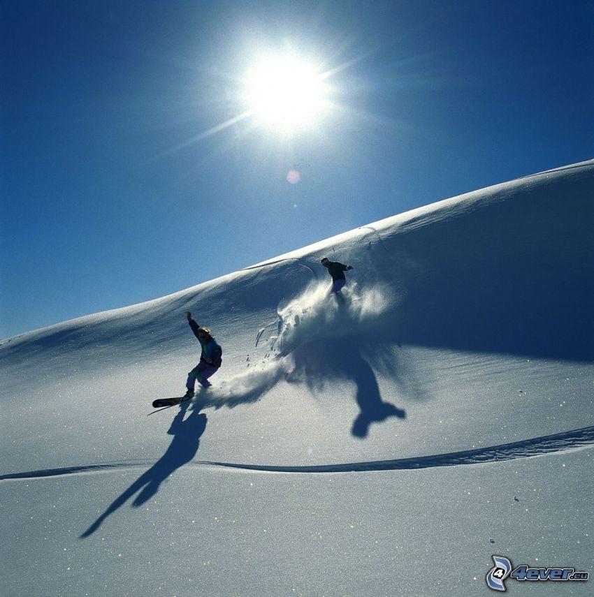 snowboardziści, słońce