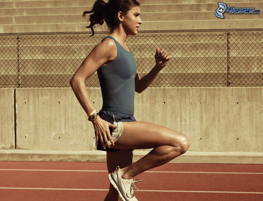 sportsmenka, bieg, kobieta, bieżnia