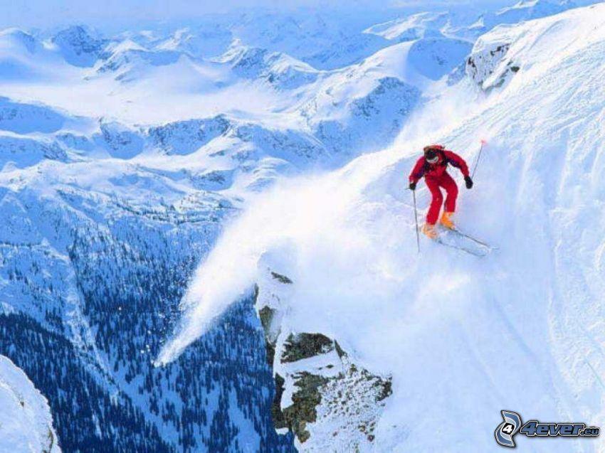 ekstremalne narciarstwo alpejskie, narciarz, góry, śnieg