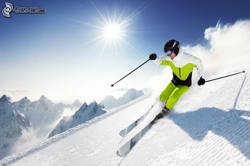 narciarstwo, zaśnieżone góry, słońce