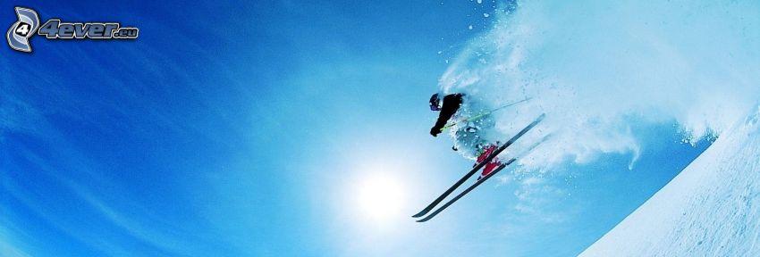 narciarstwo ekstremalne, skok na nartach, słońce