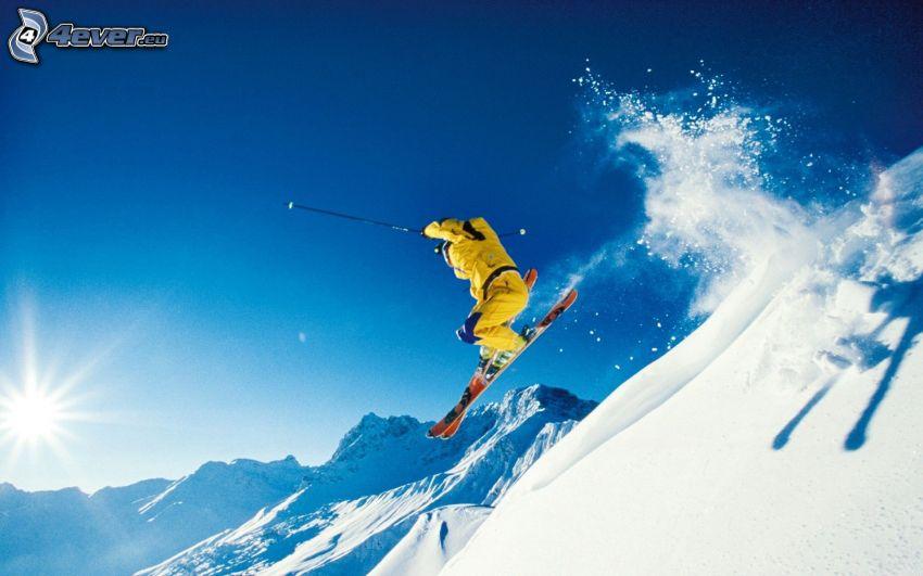 narciarstwo ekstremalne, skok na nartach, śnieg, słońce