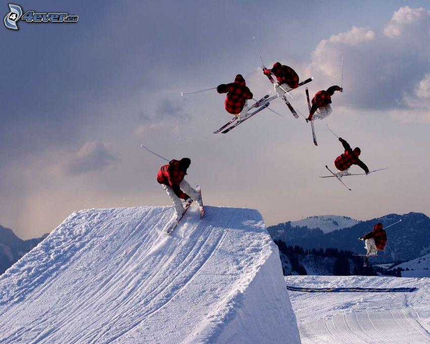 narciarstwo ekstremalne, skok na nartach, śnieg
