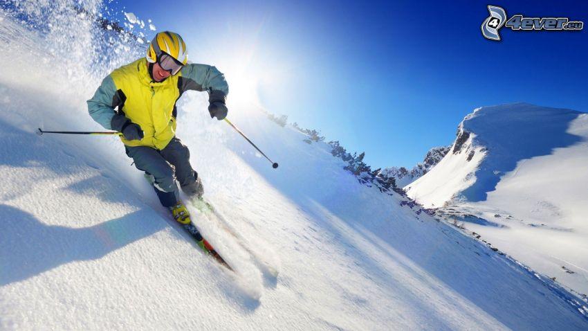 narciarstwo ekstremalne, śnieg, słońce