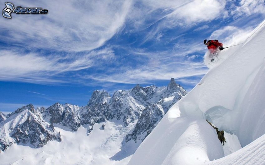 narciarstwo ekstremalne, zaśnieżone góry, niebo