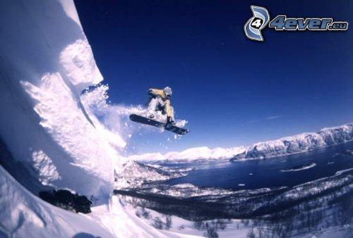 skok snowboardowy, adrenalina, jezioro