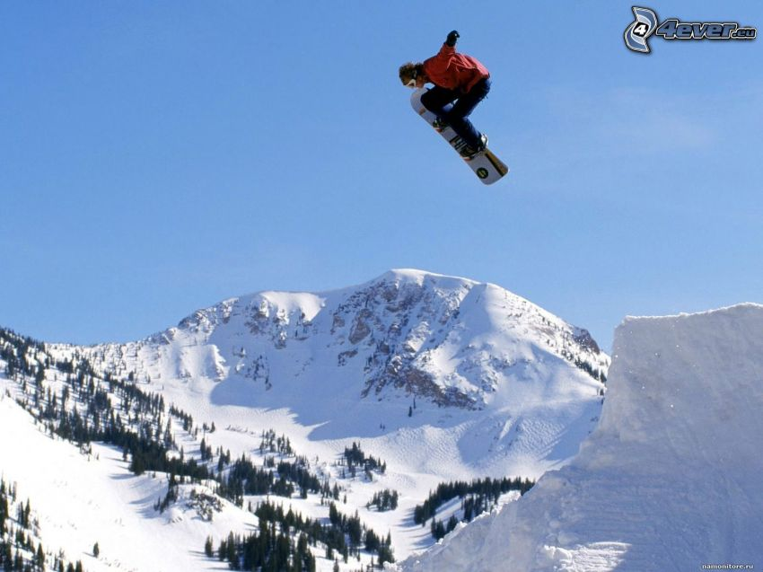 skok snowboardowy, adrenalina, rampa