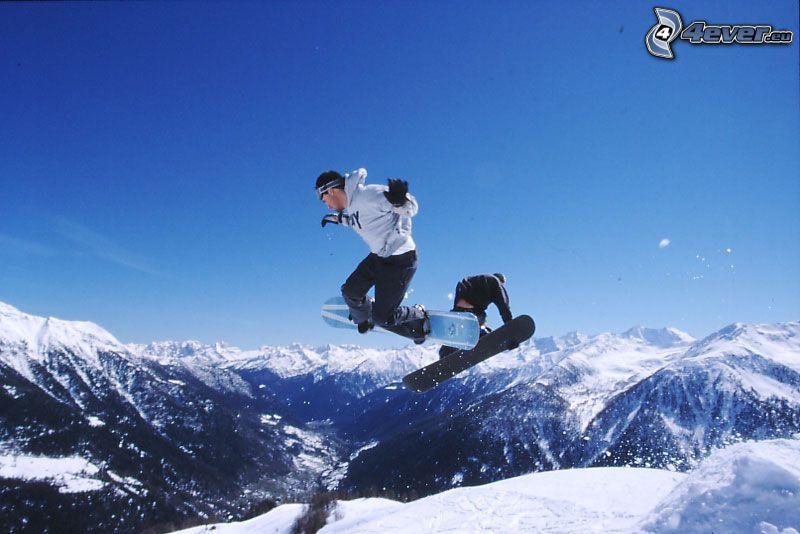 skok snowboardowy, adrenalina, Włoskie Alpy, śnieg