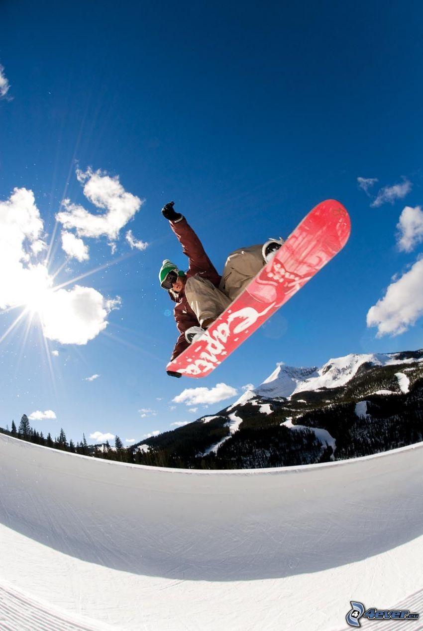 skok snowboardowy, słońce