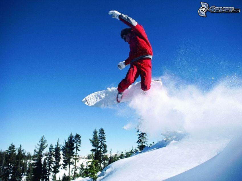 skok snowboardowy, śnieg, las, akrobacje