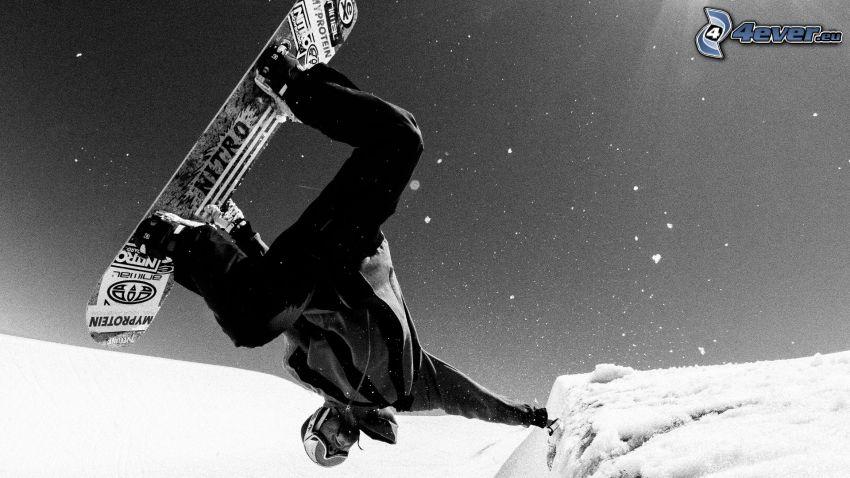 snowboard, skok, czarno-białe zdjęcie