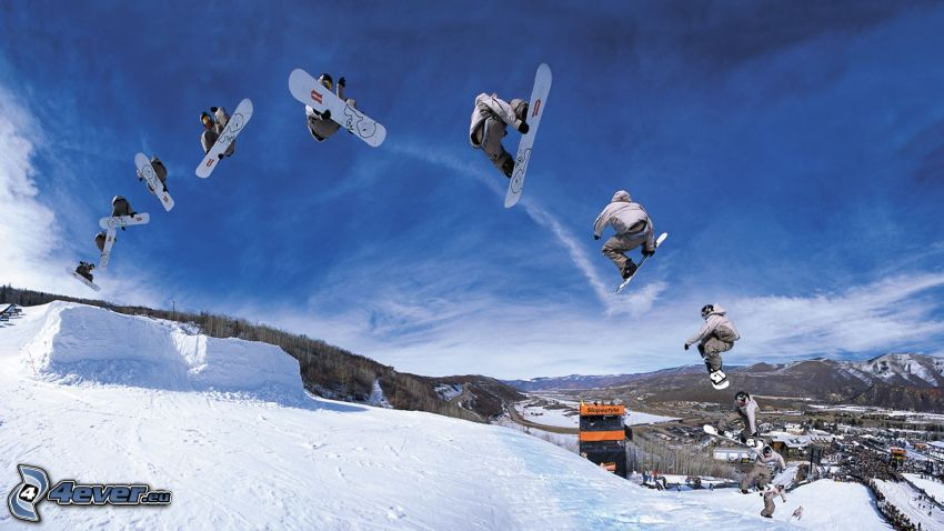snowboard, skok