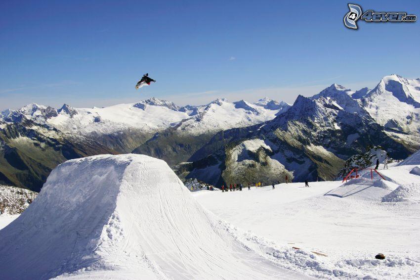 snowboarding, góry, śnieg