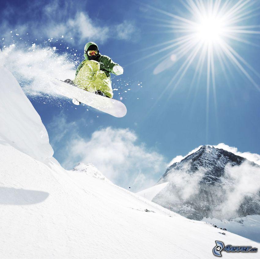 snowboarding, skok, słońce