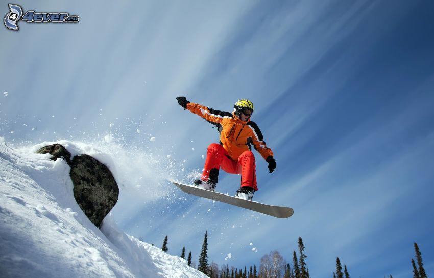snowboarding, skok, śnieg