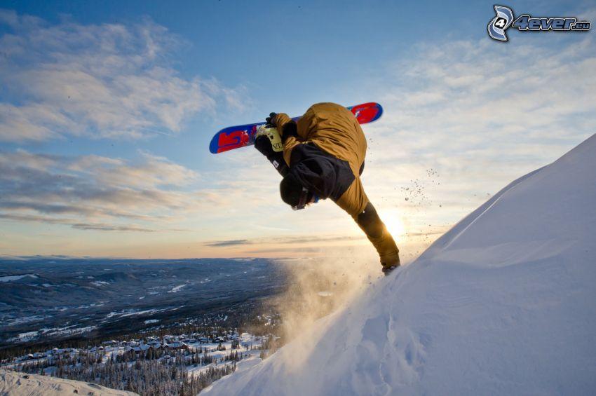 snowboarding, skok, widok na krajobraz