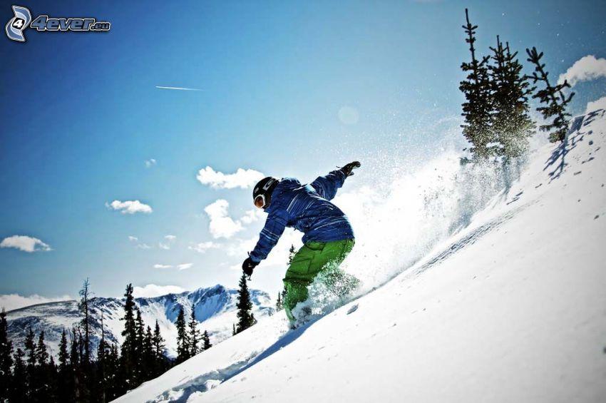 snowboarding, śnieg