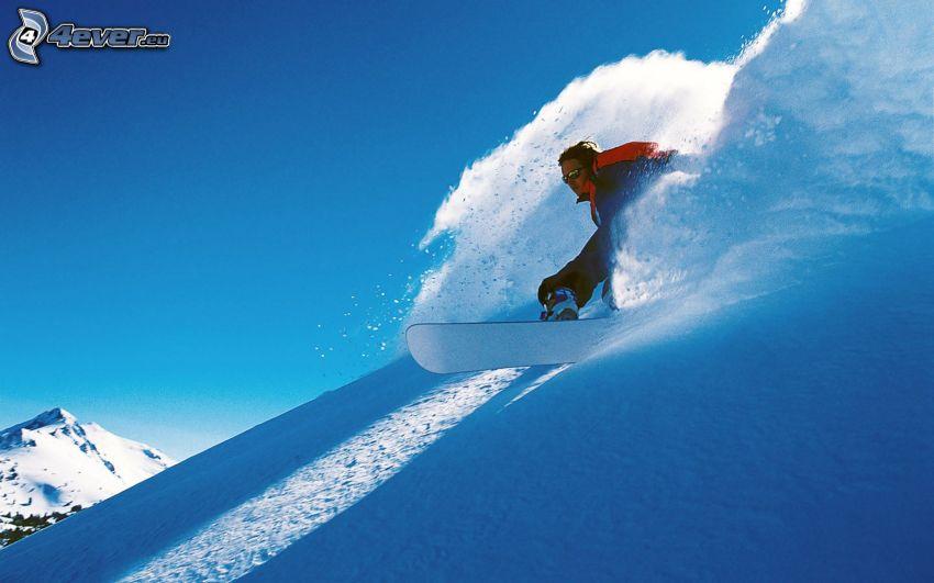 snowboarding, zjazd w dół