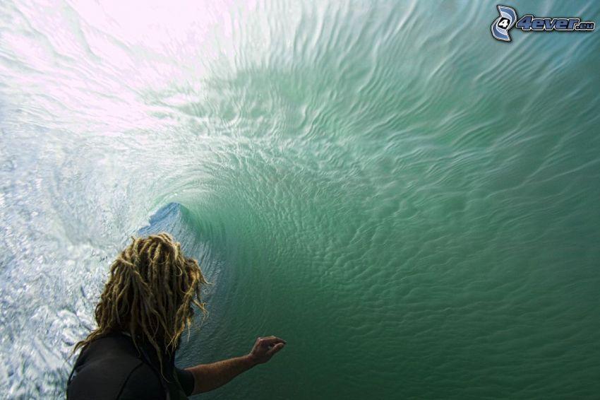 surfowanie, fala, dredy
