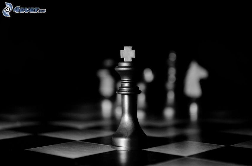 szachowe figury, czarno-białe zdjęcie, król