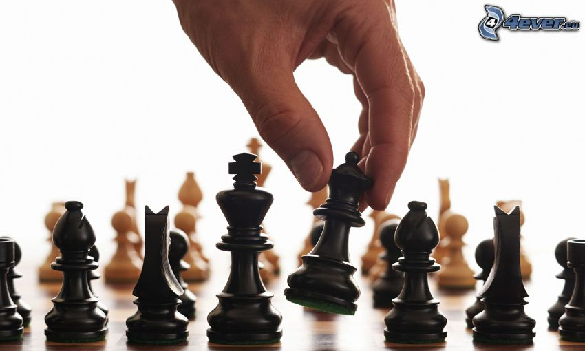 szachy, szachowe figury, ręka