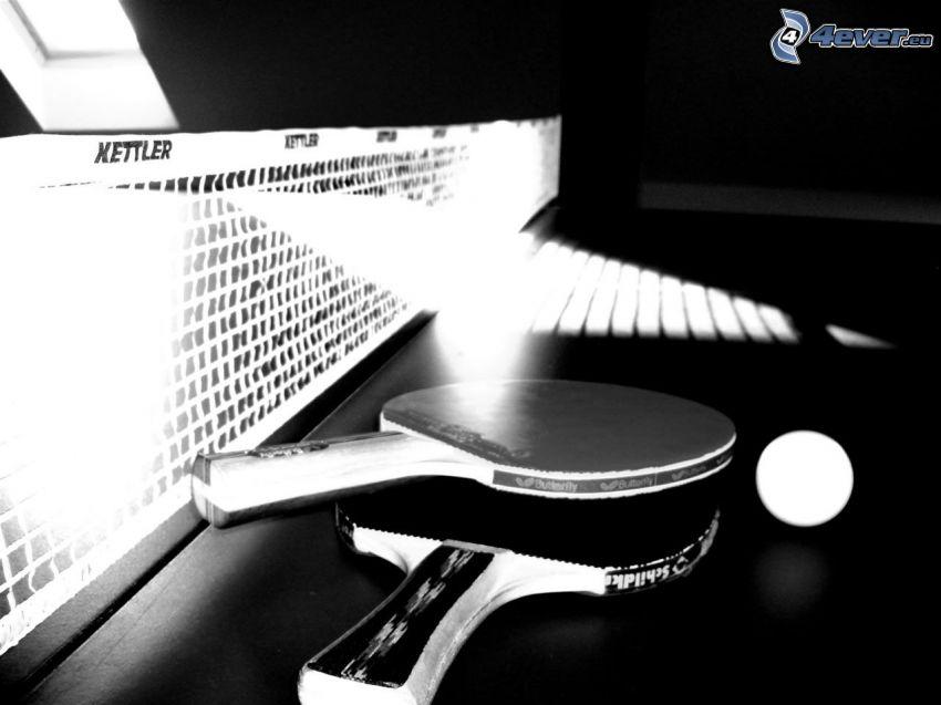 tenis stołowy, rakieta, piłka, czarno-białe zdjęcie