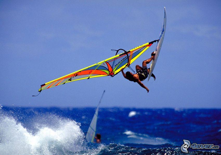 windsurfing, morze, fala