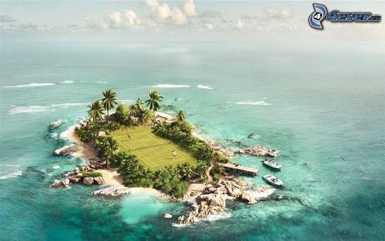 wyspa, korty tenisowe, ocean, morze, palmy