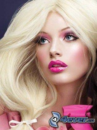Barbie, modelka, blondynka, różowy