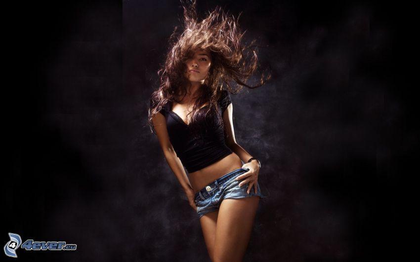 dziewczyna, kręcone włosy, brunetka, rozwiane włosy