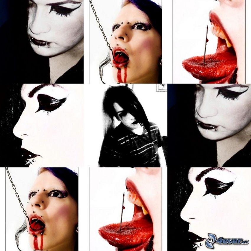 gotyk, usta, krew, język, piercing, kolaż