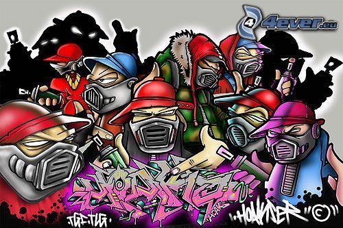 hip hop, graffiti, kolaż, szkic