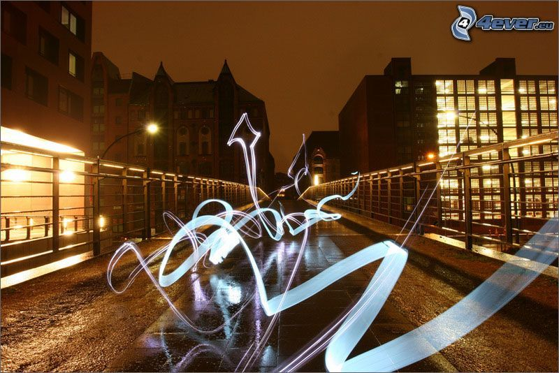 lightpainting, miasto, ulica