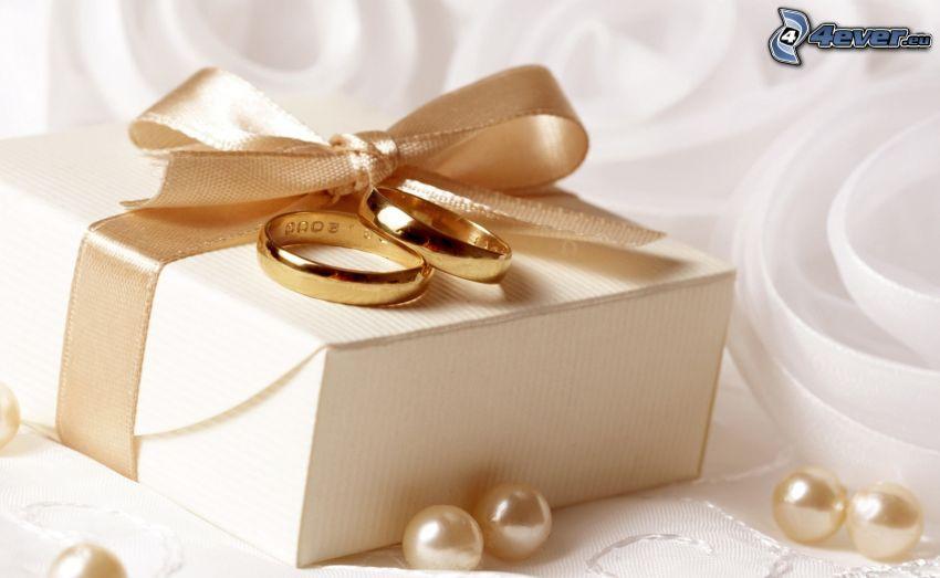 obrączki, prezent, wstążka, perły