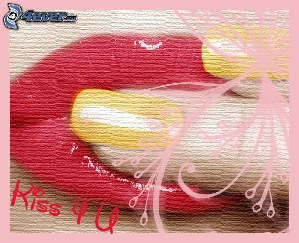 palec w ustach, usta, paznokieć, pocałunek, kiss