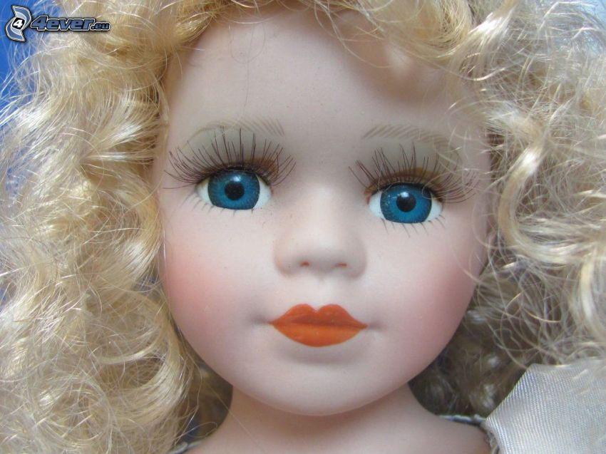 porcelanowa lalka, niebieskie oczy