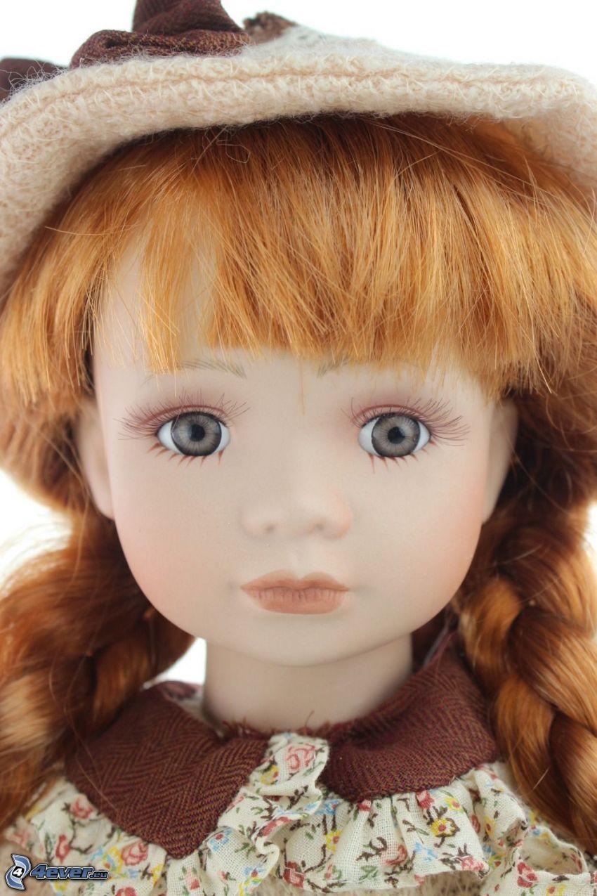 porcelanowa lalka, rudowłosa