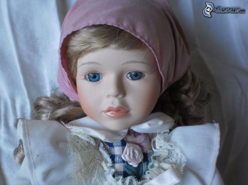 porcelanowa lalka, szalik
