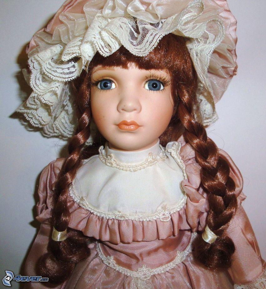 porcelanowa lalka, warkocze