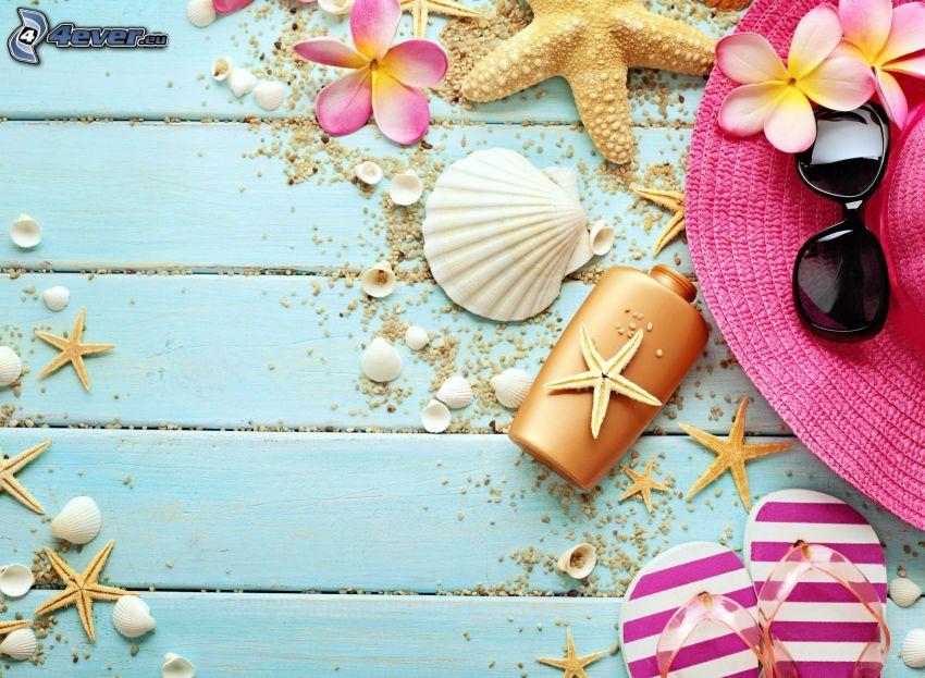 przedmioty, kapelusz, klapki, okulary przeciwsłoneczne, muszle, rozgwiazdy, różowe kwiaty