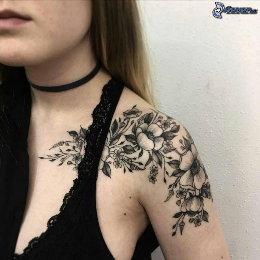 tatuaż, kwiaty, podkoszulek