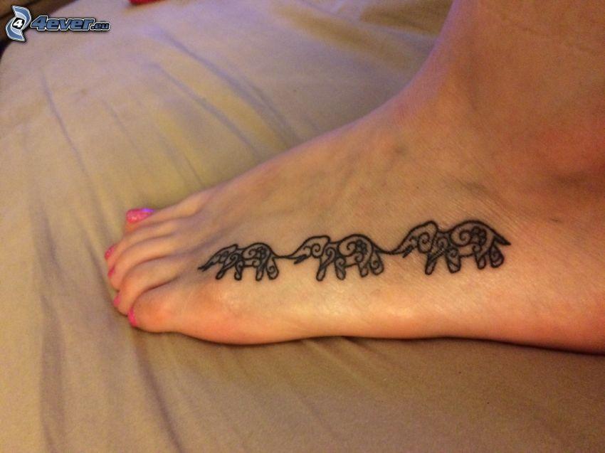 tatuaż, Słonie, stopa