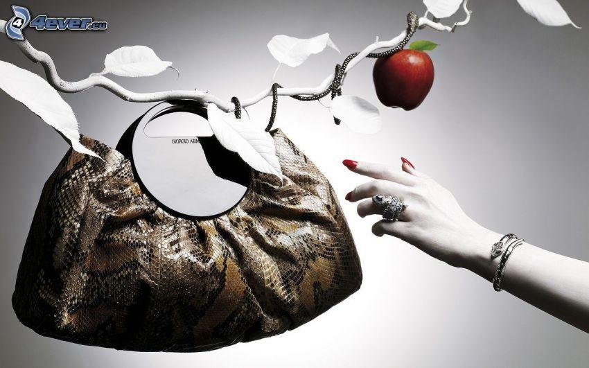torebka, ręka, jabłko