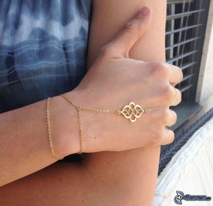 bransoletka, łańcuszek, ręka