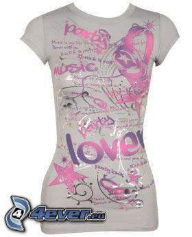 koszulka, szary, różowy, love