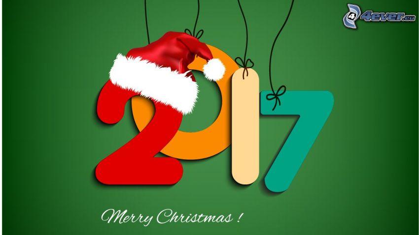 2017, Merry Christmas, czapka Świętego Mikołaja