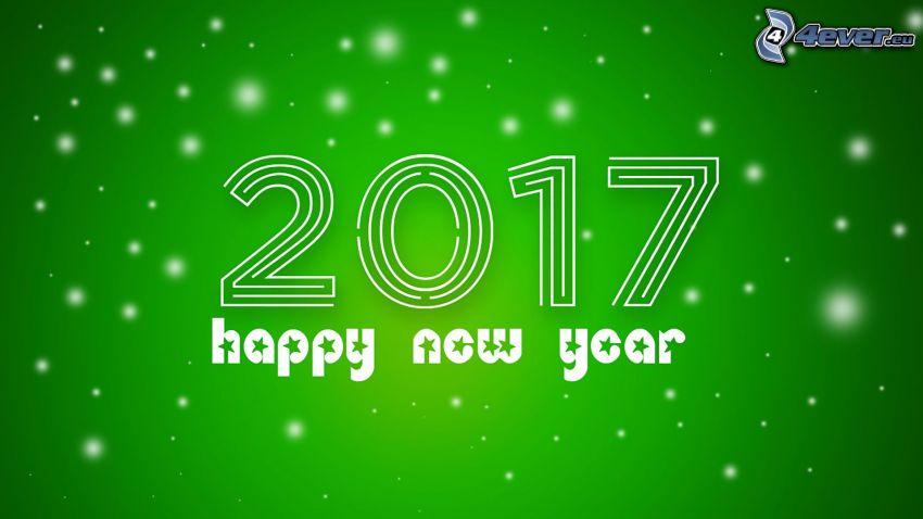 2017, Szczęśliwego Nowego Roku, happy new year, zielone tło