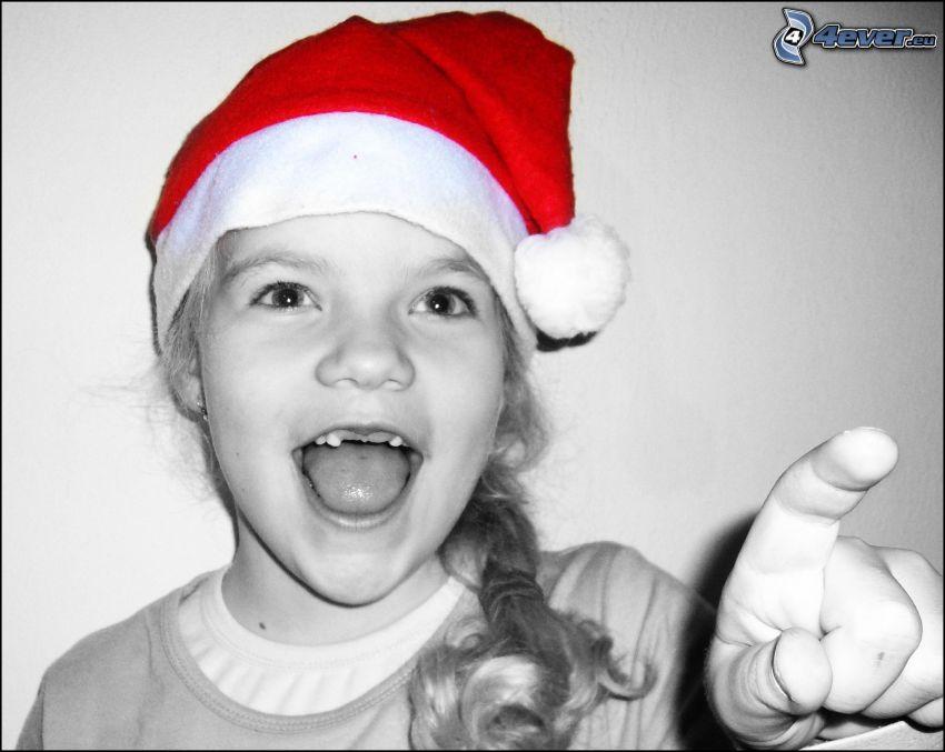 dziewczynka, czapka Świętego Mikołaja