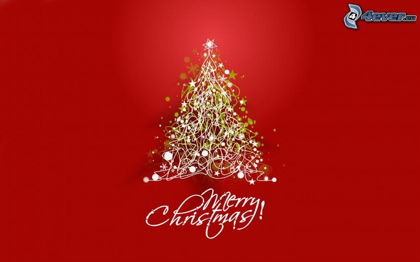 Merry Christmas, choinka, czerwone tło